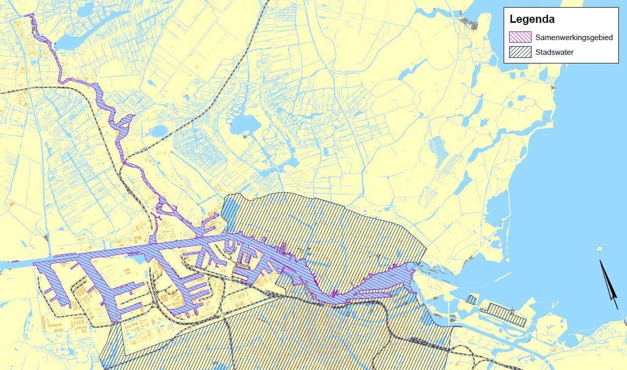 Kaart samenwerkingsgebied havenwater