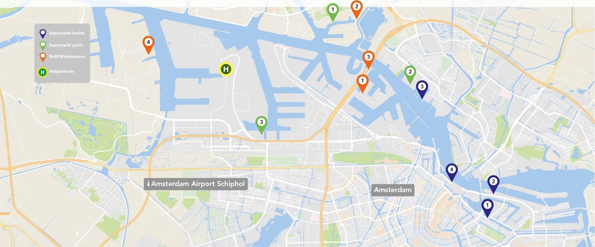 Alle locaties voor superjachten op de kaart van Amsterdam